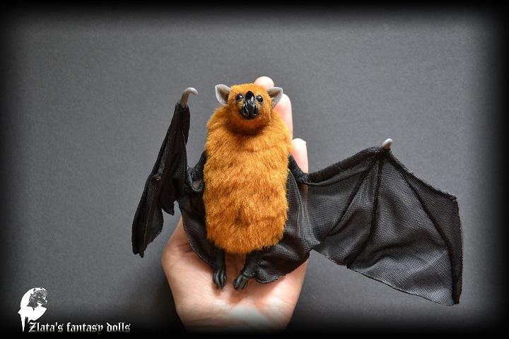 Vampire Bat soft sculpture by Zlata's fantasy dolls